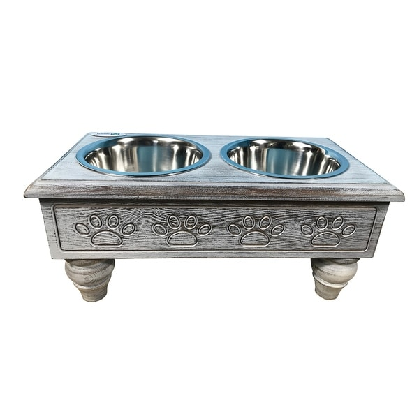 Iconic Pet Raised Wooden Pet Double Diner with Stainless Steel Bowls