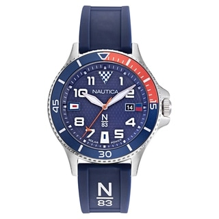 Nautica N83 Men's NAPCBF916 Cocoa Beach Navy/Red Silicone Strap Watch
