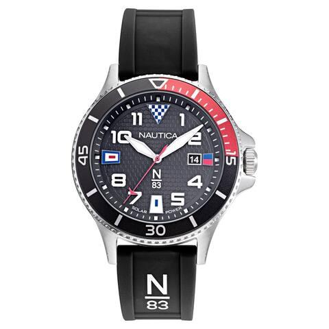 Nautica N83 Men's NAPCBF914 Cocoa Beach Black/Red Silicone Strap Watch