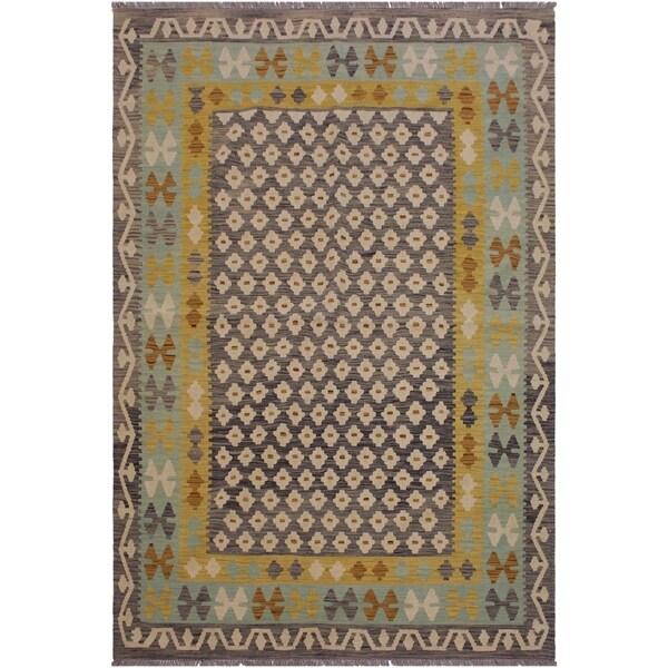 "Amelia Gray/Ivory Hand-Woven Kilim Wool Rug - 5'7 x 7'6 - 5'7"" x 7'6"""