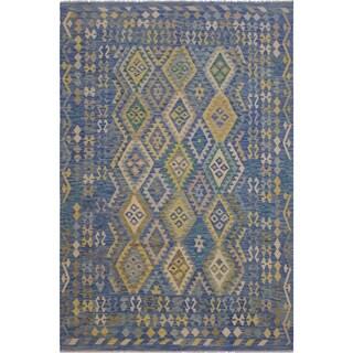 "Demetric Blue/Gray Hand-Woven Kilim Wool Rug - 6'9 x 9'7 - 6'9"" x 9'7"""