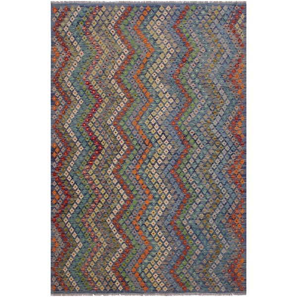 "Kristie Blue/Red Hand-Woven Kilim Wool Rug - 7'0 x 9'7 - 7'0"" x 9'7"""
