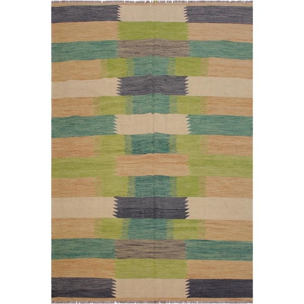 """Alecia Beige/Grey Hand-Woven Kilim Wool Rug - 6'6 x 9'9 - 6'6"""" x 9'9"""""""