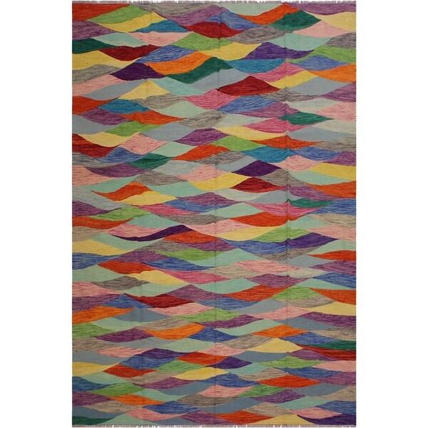 "Helena Grey/Blue Hand-Woven Kilim Wool Rug - 8'0 x 10'1 - 8'0"" x 10'1"""