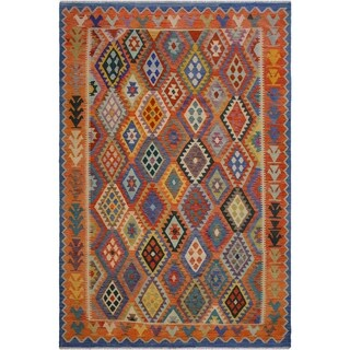"Fiora Blue/Orange Hand-Woven Kilim Wool Rug - 8'3 x 9'9 - 8'3"" x 9'9"""