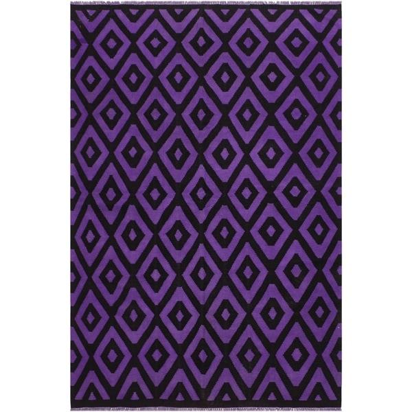 "Carlita Purple/Black Hand-Woven Kilim Wool Rug - 5'6 x 7'9 - 5'6"" x 7'9"""