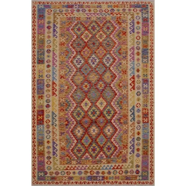 "Doretta Ivory/Brown Hand-Woven Kilim Wool Rug - 6'5 x 10'1 - 6'5"" x 10'1"""