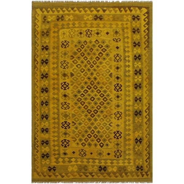 "Arlette Yellow/Brown Hand-Woven Kilim Wool Rug - 5'2 x 7'8 - 5'2"" x 7'8"""