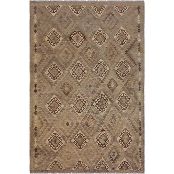 "Elizabet Tan/Gray Hand-Woven Kilim Wool Rug - 5'11 x 8'3 - 5'11"" x 8'3"""