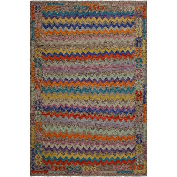 "Alphonse Brown/Blue Hand-Woven Kilim Wool Rug - 6'6 x 9'10 - 6'6"" x 9'10"""