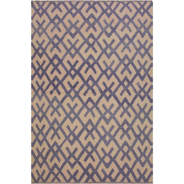 "Anglea Ivory/Gray Hand-Woven Kilim Wool Rug - 5'11 x 8'1 - 5'11"" x 8'1"""