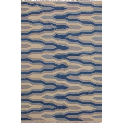 "Salley Ivory/Blue Hand-Woven Kilim Wool Rug - 4'11 x 7'0 - 4'11"" x 7'0"" - 4'11"" x 7'0"""