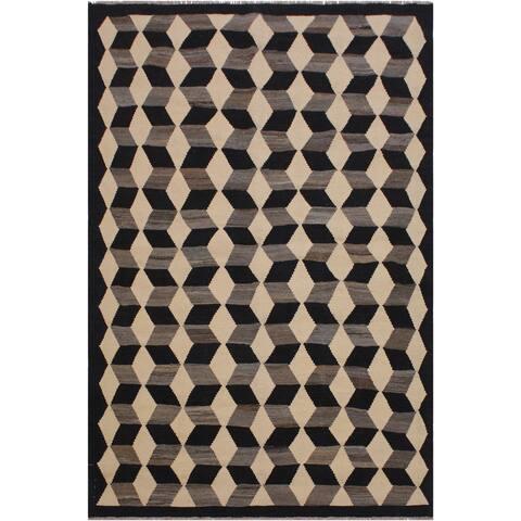 """Simonson Black/Ivory Hand-Woven Kilim Wool Rug - 5'4 x 6'8 - 5'4"""" x 6'8"""" - 5'4"""" x 6'8"""""""
