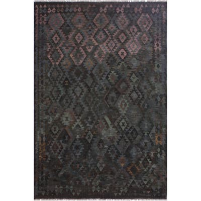"Kristoph Brown/Green Hand-Woven Kilim Wool Rug - 6'11 x 9'11 - 6'11"" x 9'11"" - 6'11"" x 9'11"""