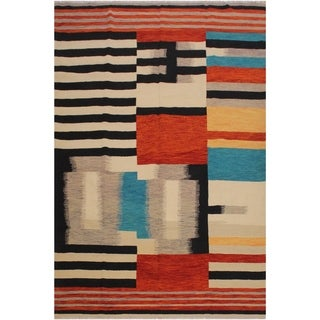 "Shuman Beige/Rust Hand-Woven Kilim Wool Rug - 8'0 x 9'8 - 8'0"" x 9'8"""