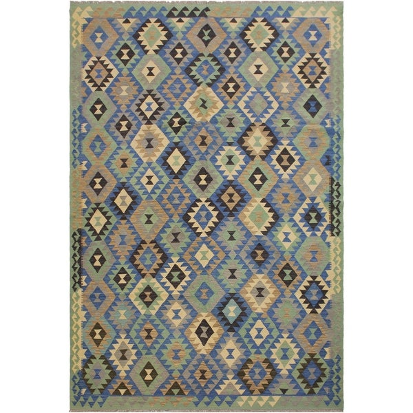 "Carisa Lt. Green/Blue Hand-Woven Kilim Wool Rug - 7'0 x 9'9 - 7'0"" x 9'9"""