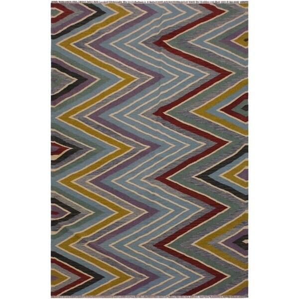 "Santiago Grey/Red Hand-Woven Kilim Wool Rug - 4'9 x 6'8 - 4'9"" x 6'8"""