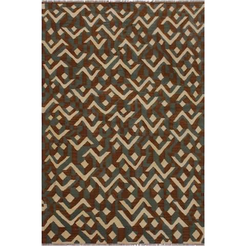 "Swisher Brown/Ivory Hand-Woven Kilim Wool Rug - 5'0 x 6'8 - 5'0"" x 6'8"" - 5'0"" x 6'8"""