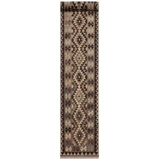 "Beverly Gray/Tan Hand-Woven Kilim Wool Runner - 2'9 x 13'3 - 2'9"" x 13'3"""