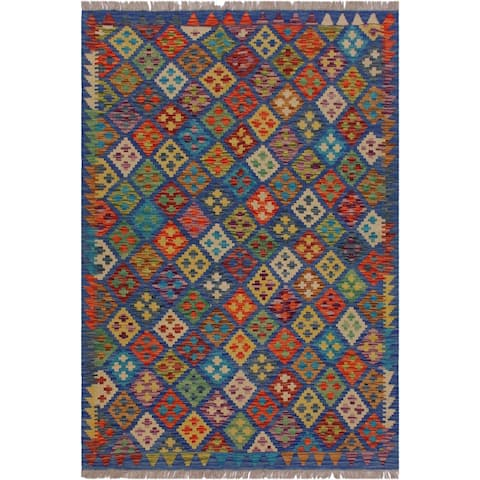 "Sander Blue/Orange Hand-Woven Kilim Wool Rug - 5'0 x 6'6 - 5'0"" x 6'6"" - 5'0"" x 6'6"""