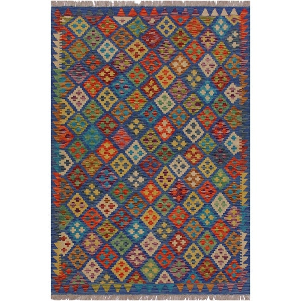 "Sander Blue/Orange Hand-Woven Kilim Wool Rug - 5'0 x 6'6 - 5'0"" x 6'6"""