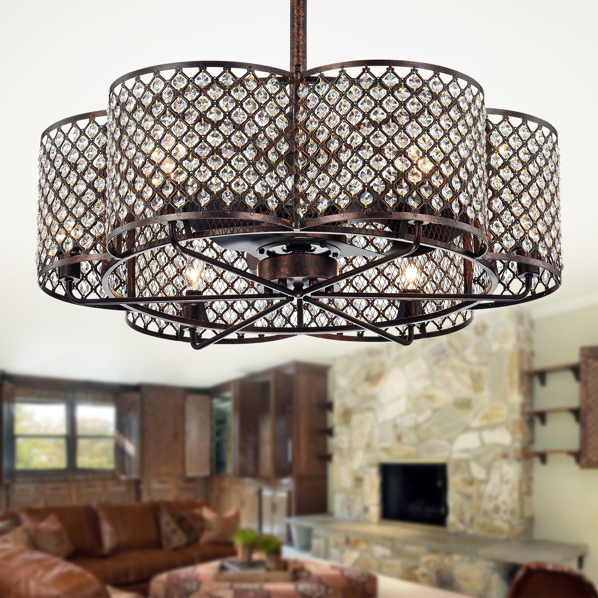 Shop Black Friday Deals On Linza 30 Inch Rustic Bronze Crystal Fandelier Flower Lighted Ceiling Fan Incl Remote Control O 30 1 In X H 29 5 In Overstock 28773122