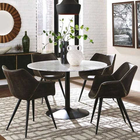 5-Piece Itialian Carrara Marble Top Round Dining Set