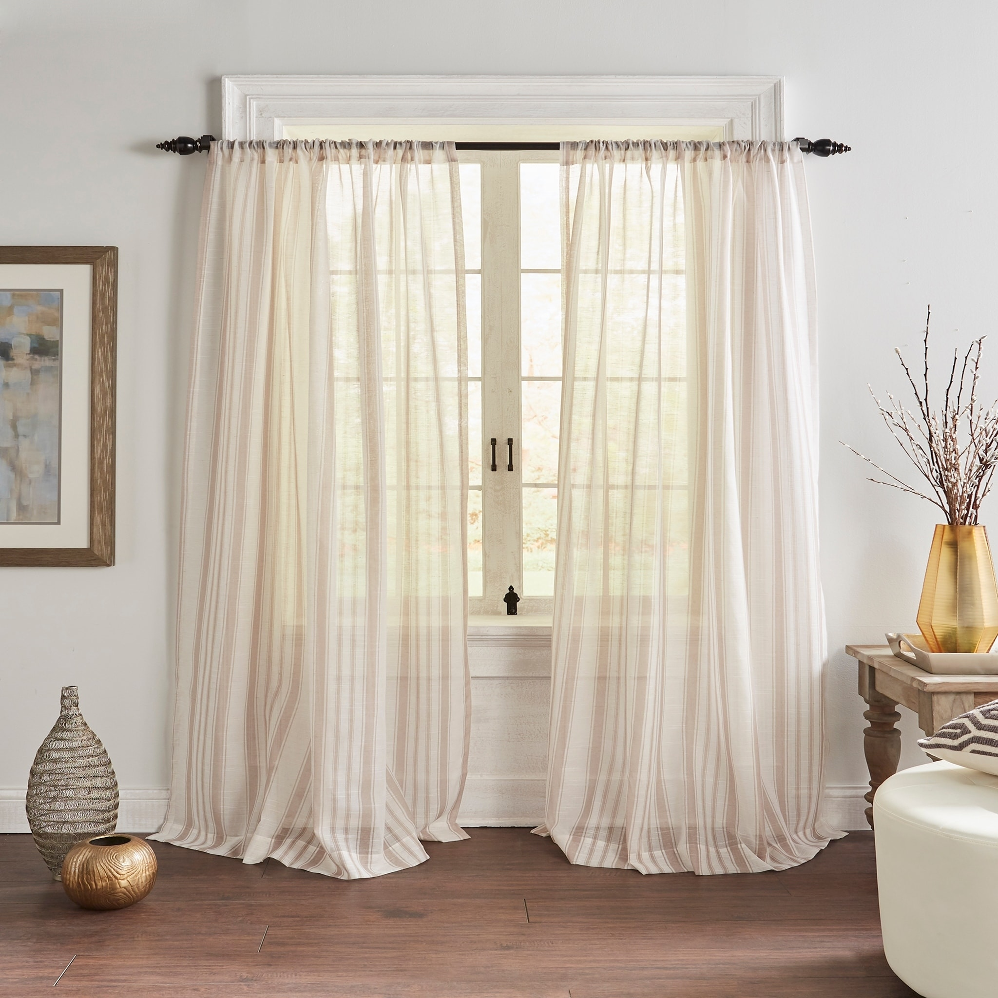 Hampton Stripe Sheer Window Curtain Overstock 28773920