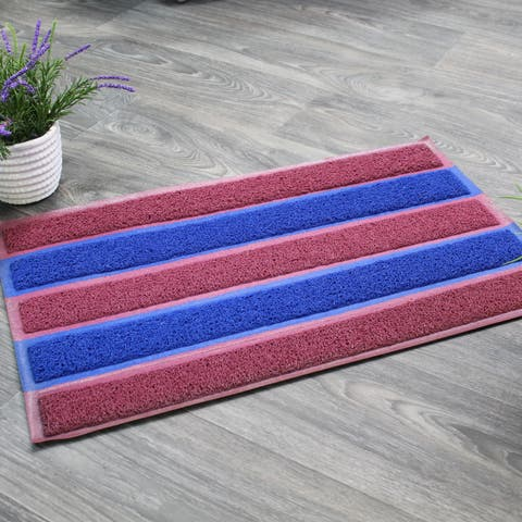 "Natural Geo Sponge Rubber Striped Kitchen Mat 18 x 29"" - N/A"
