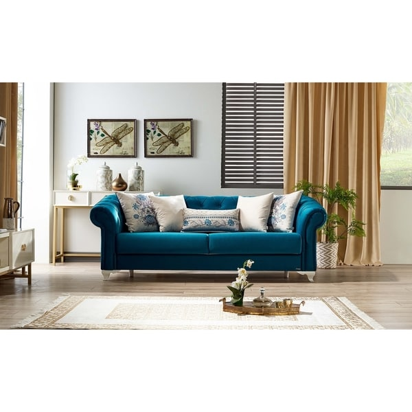 Superb Royal Convertible Sofa Sleeper Navy Blue Home Interior And Landscaping Dextoversignezvosmurscom