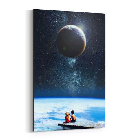 Noir Gallery Vintage Earth Space Moon Kids Canvas Wall Art Print