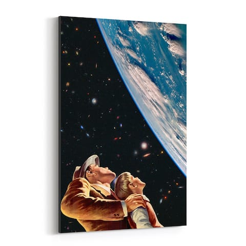 Noir Gallery Father Son Kids Space Vintage Collage Canvas Wall Art Print