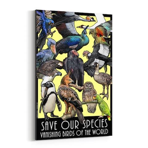 Noir Gallery Endangered Bird Species Animals Canvas Wall Art Print