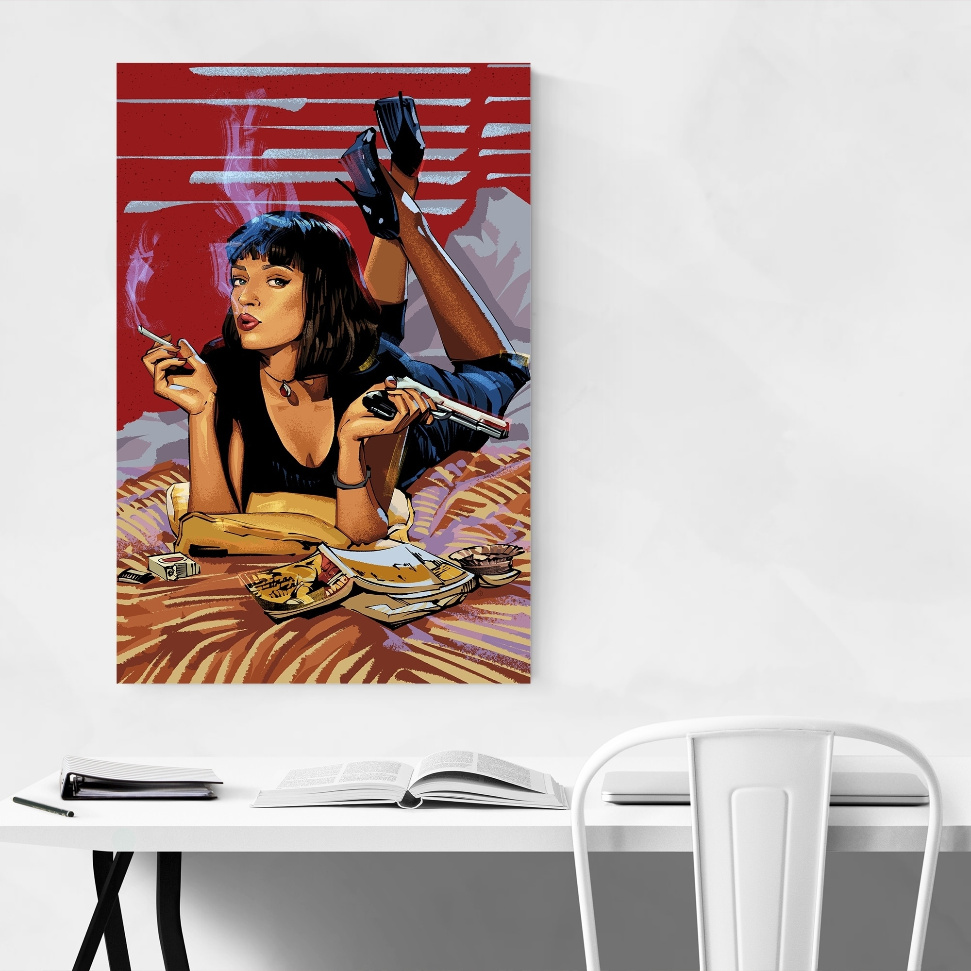 Noir Gallery Mia Wallace Pulp Fiction Movie Canvas Wall Art Print Overstock 28775722