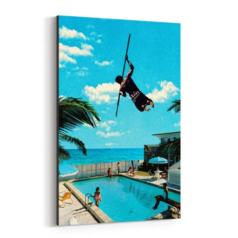 Noir Gallery Tropical Man Pole Vaulting Swimming Canvas Wall Art Print
