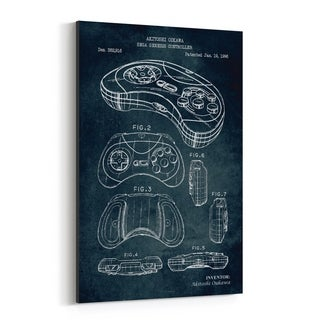 Noir Gallery Sega Genesis Video Game Patent Print Canvas Wall Art Print