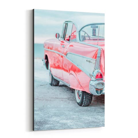 Noir Gallery 50's Chevy Bel Air Car Vintage Canvas Wall Art Print