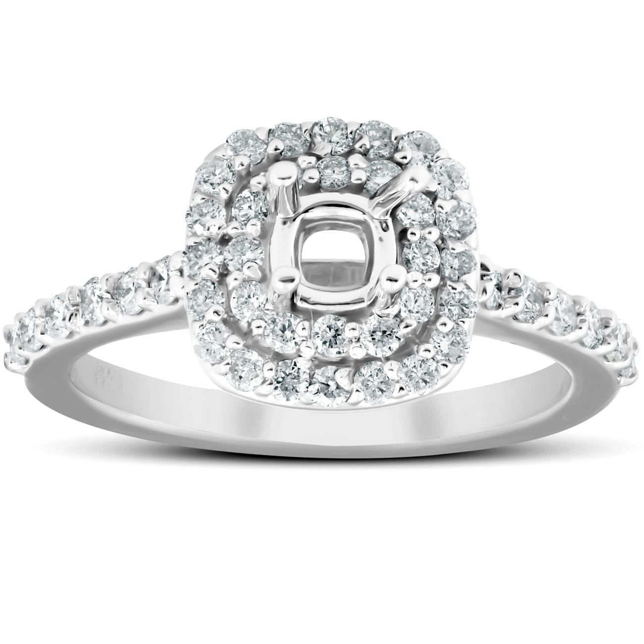 3//4Ct Double Halo Diamond Engagement Ring Oval Setting Semi Mount 14k White Gold