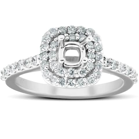 5/8Ct Double Cushion Halo Diamond Engagement Ring Setting Mount 14k White Gold