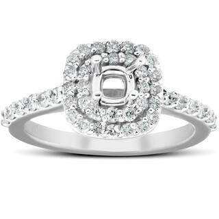 5/8Ct Double Cushion Halo Diamond Engagement Ring Setting Mount 14k White Gold
