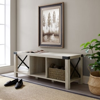 "Link to The Gray Barn Kujawa 48"" Farmhouse X-Accent Bench Similar Items in Living Room Furniture"
