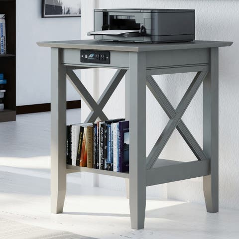 Copper Grove Bregenz Grey Printer Stand with Charger