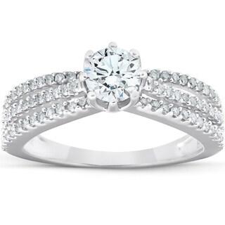 1 Ct Diamond Engagement Ring Multi Row 14k White Gold