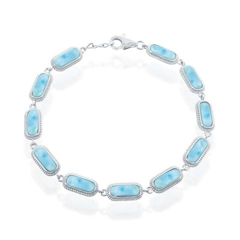 "La Preciosa 925 Sterling Silver Hawaii Natural Oval Larimar Gemstone High Polished 7.5"" Linked Bracelet"