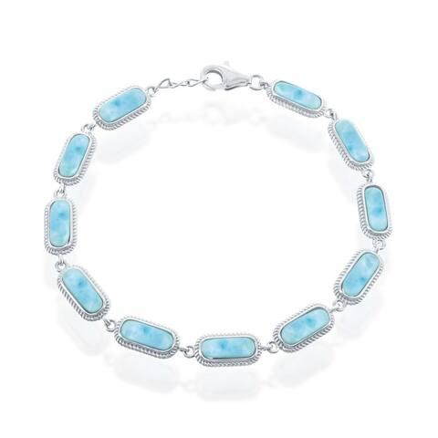 "La Preciosa 925 Sterling Silver Hawaii Natural Oval Larimar Gemstone High Polished 7.5"" Linked Bracelet"