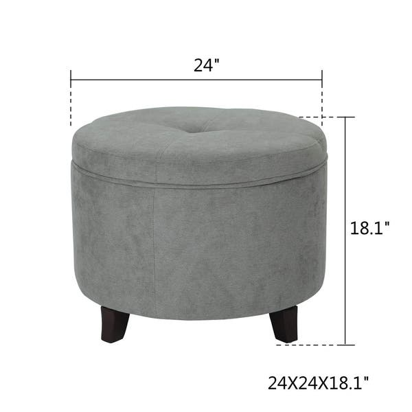 Incredible Shop Adeco Round Ottoman Fabric Foot Rest And Seat Wood Machost Co Dining Chair Design Ideas Machostcouk