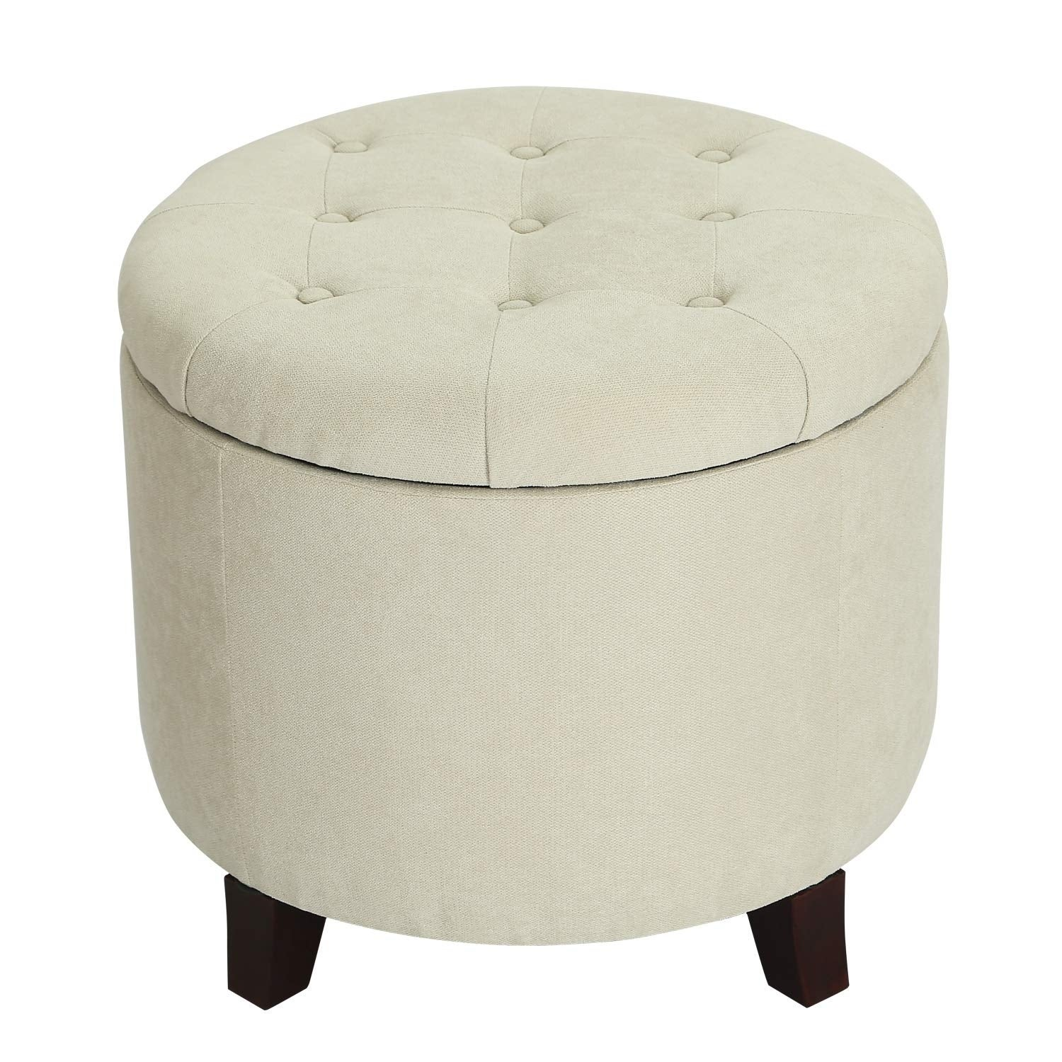 Picture of: Adeco Fabric Cushion Round Button Tufted Lift Top Storage Ottoman Footstool Height 17 Inches Natural Fabric On Sale Overstock 28776119