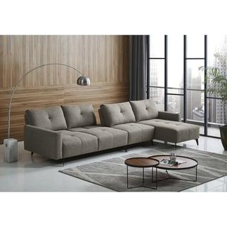 Divani Casa Kenton Modern Grey Fabric Sectional Sofa