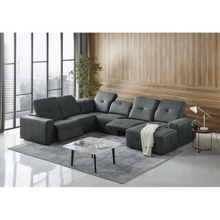 Divani Casa Mentor Modern Dark Grey Leatherette Sectional w/ 2 Recliners
