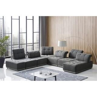Divani Casa Ekron Modern Grey Fabric Modular Sectional Sofa